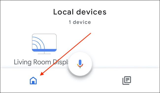 Open the Home App and tap the Home icon to the bottom-left of the microphone icon.