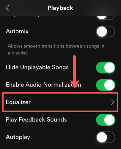 Tap Playback > Equalizer on iOS