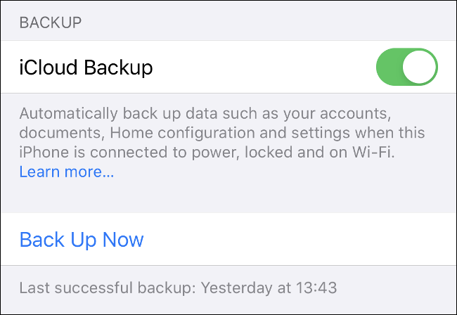 "Toggle-On the ""iCloud Backup"" option in iOS ""Settings."""