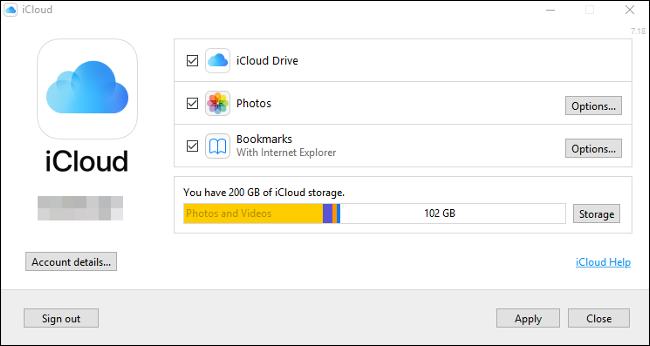 "The ""iCloud"" control panel on Windows 10."