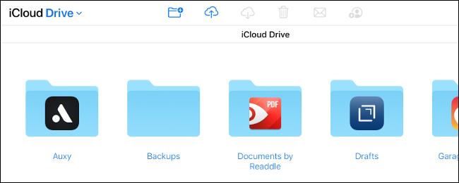 Una unidad iCloud en iCloud.com.