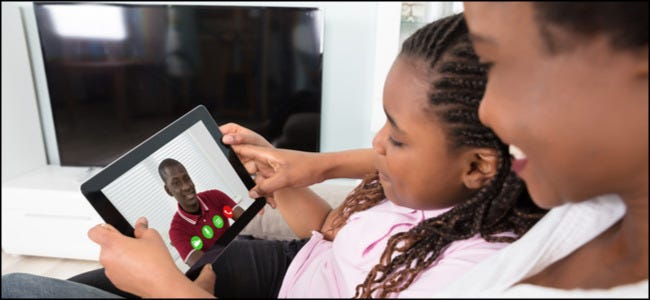 Family Video Chatting on Tablet