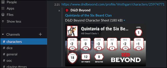 Character Sheet in Slack