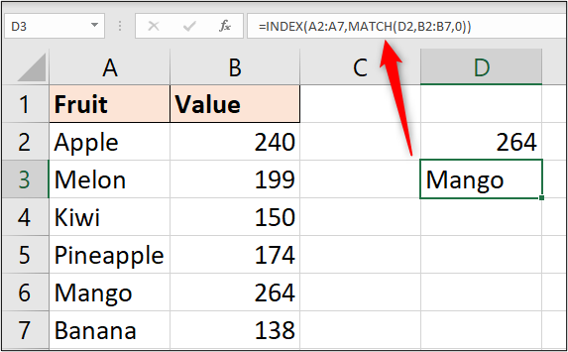 INDEX and MATCH to return product name