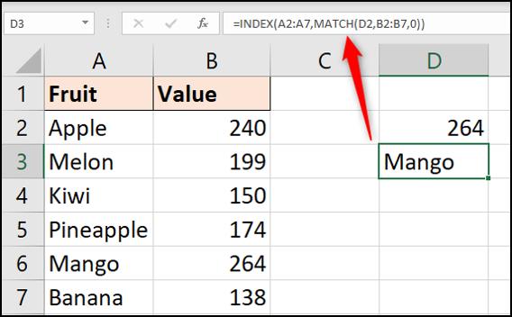 INDEX และ MATCH เพื่อส่งคืนชื่อผลิตภัณฑ์