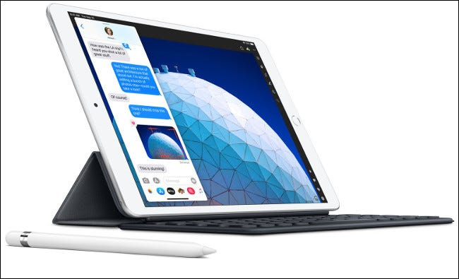 The 2020 iPad Air with a Smart Keyboard and Apple Pencil.