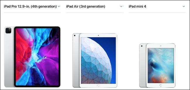 A 2020 12.9-inch iPad Pro, iPad Air, and iPad mini.