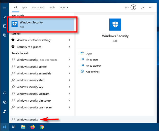 Launch Windows Security from Start menu in Windows 10