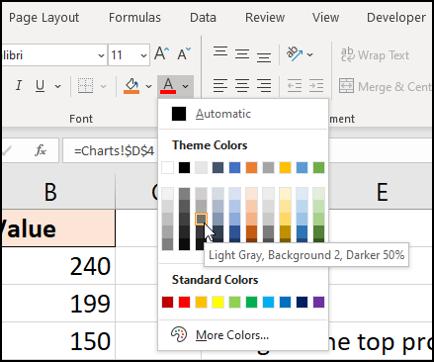 การจัดรูปแบบด้วยสีตัวอักษรสีเทาอ่อน