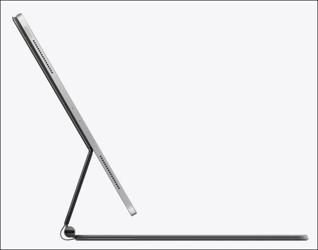A side view of the 2020 iPad Pro with Magic Keyboard.