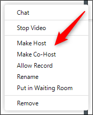 make co-host option in dropdown menu