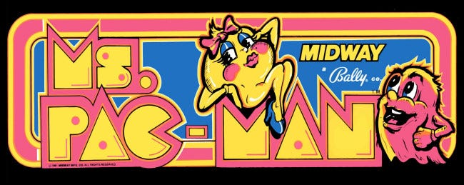 The Ms. Pac-Man arcade marquee.