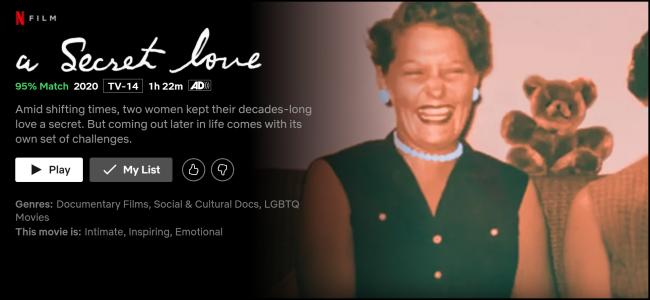 "The ""A Secret Love"" watch page on Netflix."