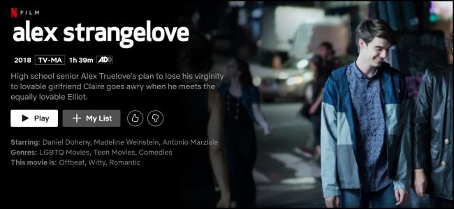 """The """"Alex Strangelove"""" page on Netflix."""