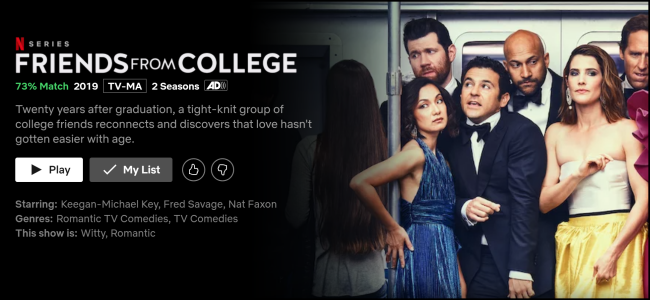 """The """"Friends From College"""" watch page on Netflix."""