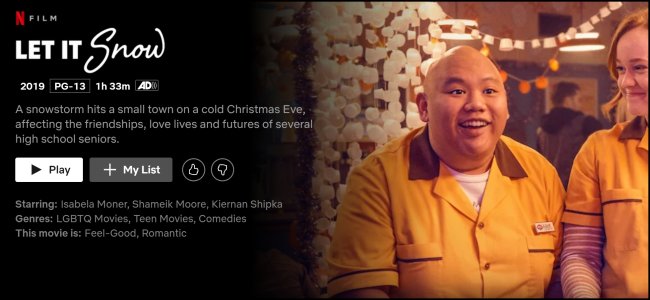"""The """"Let It Snow"""" page on Netflix."""
