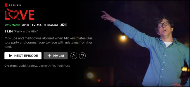 """The """"Love"""" watch page on Netflix."""
