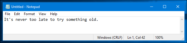 An example of Notepad in Windows 10