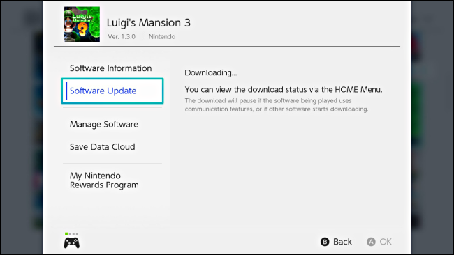 A message in the Options game showing the update downloading on Nintendo Switch