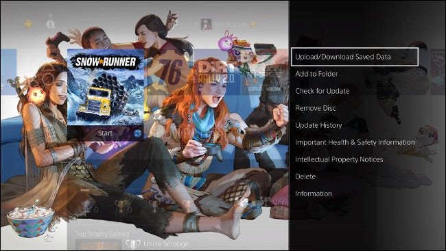 """Select """"Upload/Download Saved Data"""" on the PS4 Home screen."""