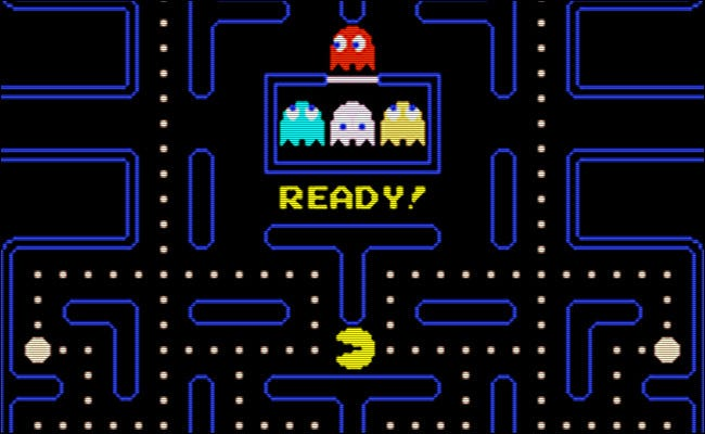 "The ""Ready!"" screen on the 1980 version of ""Pac-Man."""