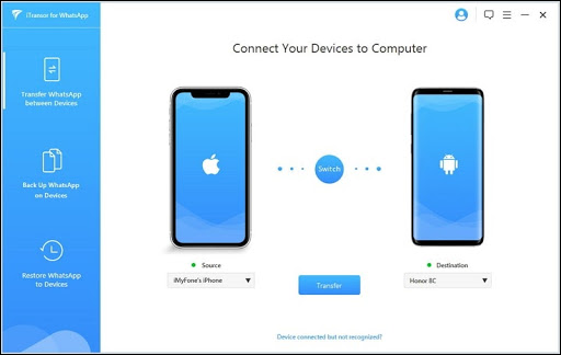 iTransor for WhatsApp connection screen