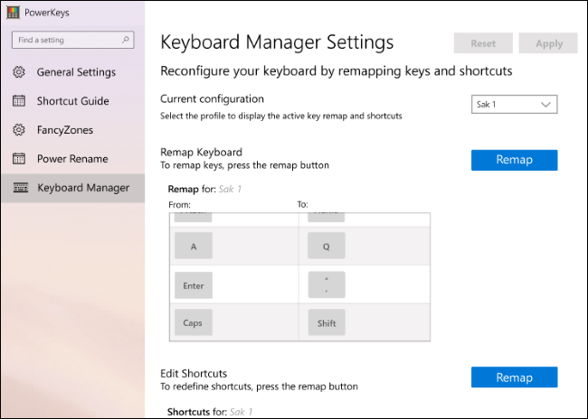 An early version of Keyboard Manager settings in PowerToys.
