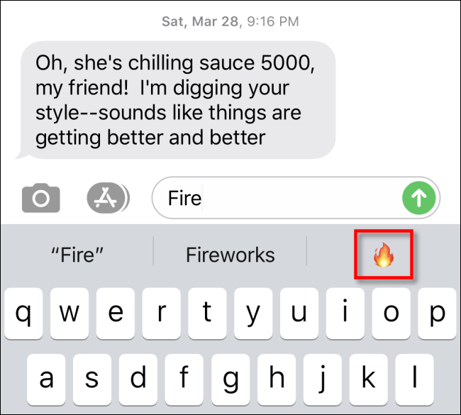 Tap on the emoji in the predictive text area to insert it in Apple Messages