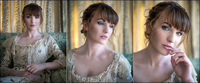 Multiple indoor portraits of a woman.