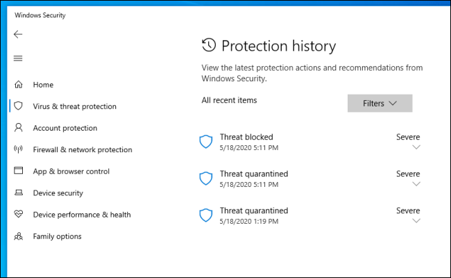The Protection history list in Windows Security on Windows 10