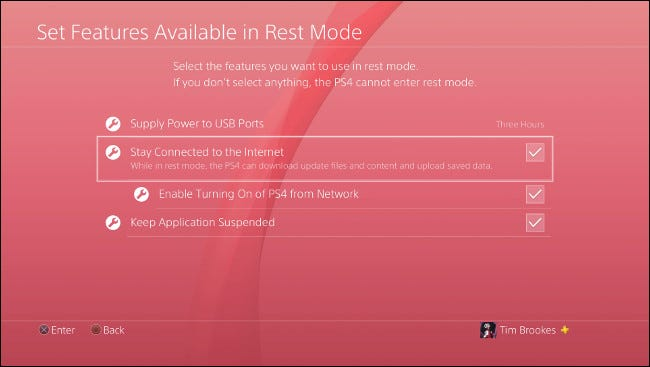 """The """"Set Features Available in Rest Mode"""" menu on PlayStation 4."""