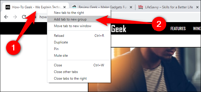 "Right-click on a tab and then select ""Add Tab To New Group"""