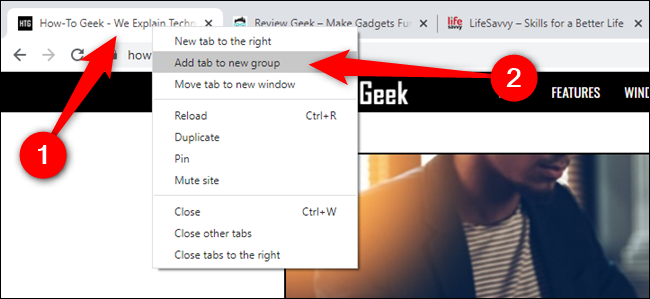 """Right-click on a tab and then select """"Add Tab To New Group"""""""