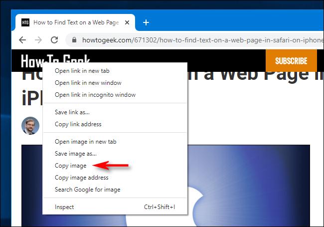 Clique com o botão direito na cópia no Google Chrome para Windows 10