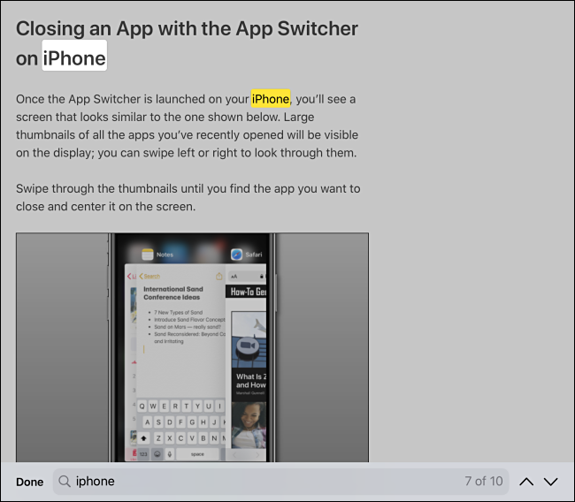 Find in page search results in Safari on iPhone or iPad