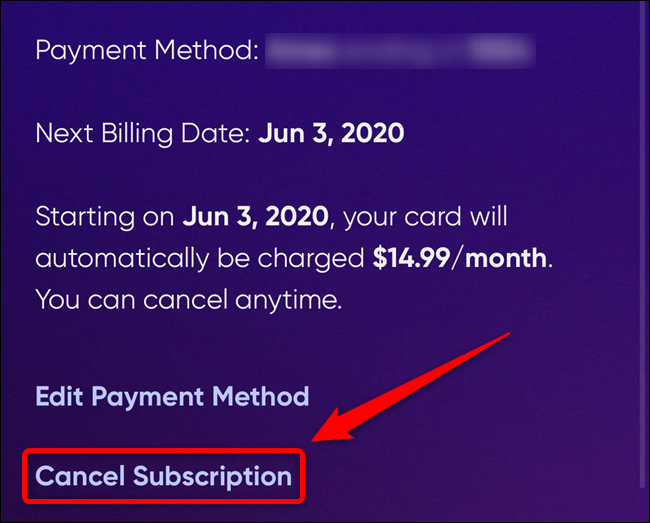 "Select the ""Cancel Subscription"" link"