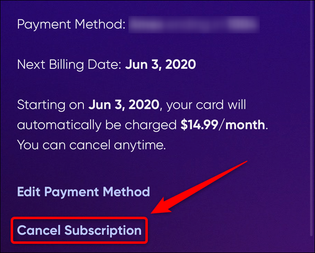 """Select the """"Cancel Subscription"""" link"""
