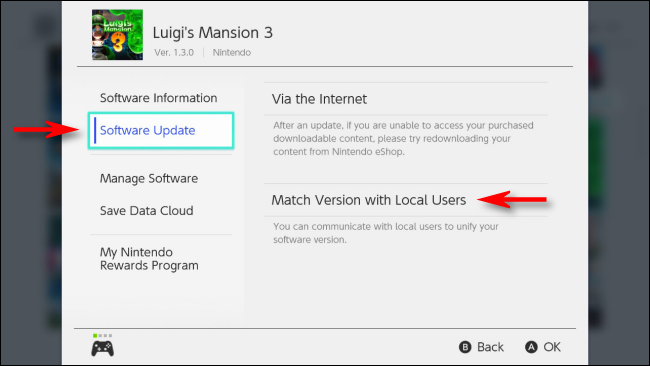 Select Match Version with Local Users on Options Menu for Nintendo Switch