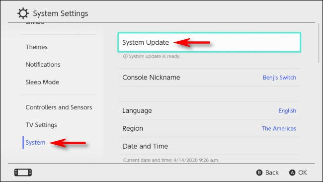 Select System Update in System Settings on Nintendo Switch