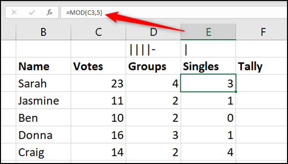Calculate the remainder with MOD