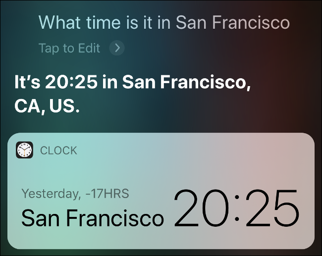 Results from Siri showing what time it is in San Francisco.