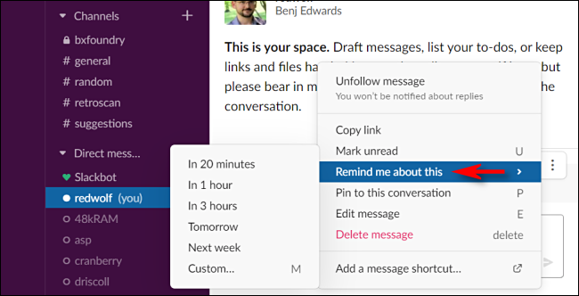 Setting a Slack message reminder