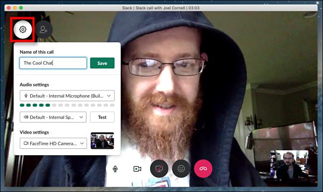 Slack video chat call settings