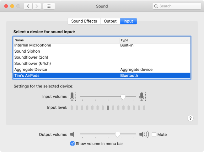 macOS Sound Input Preferences