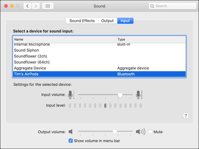 macOS Sound Input Preferences