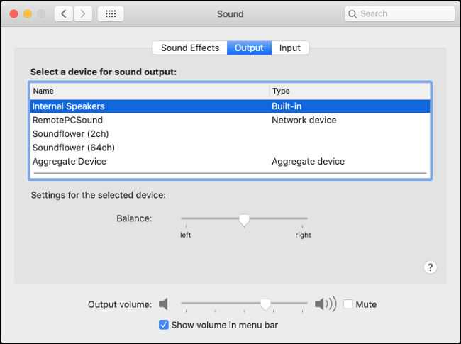 macOS Sound Output Preferences