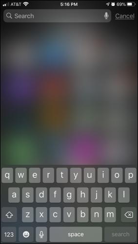 Spotlight search screen on iPhone