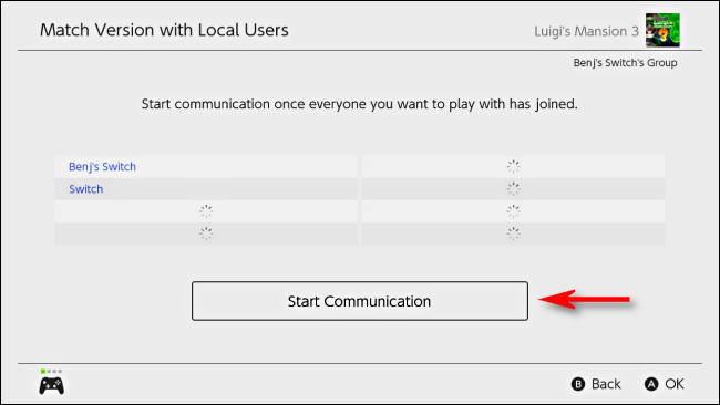 Select Start Communication on Nintendo Switch