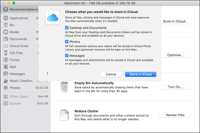 """El menú """"Elige lo que te gustaría almacenar en iCloud"""" en macOS."""