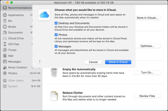 "The ""Choose What You Would Like to Store in iCloud"" menu on macOS."
